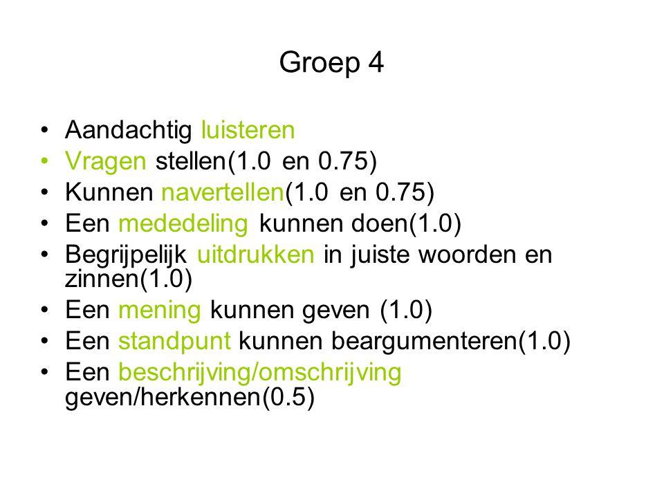 Groep 4 Aandachtig luisteren Vragen stellen(1.0 en 0.75)