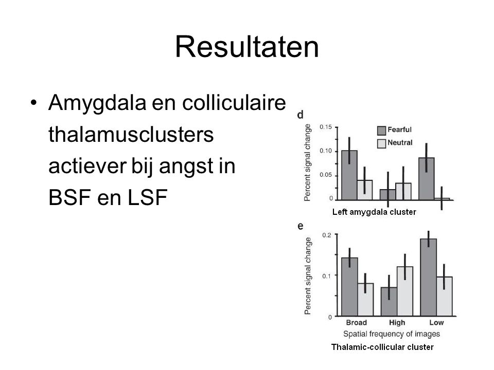 Resultaten Amygdala en colliculaire thalamusclusters