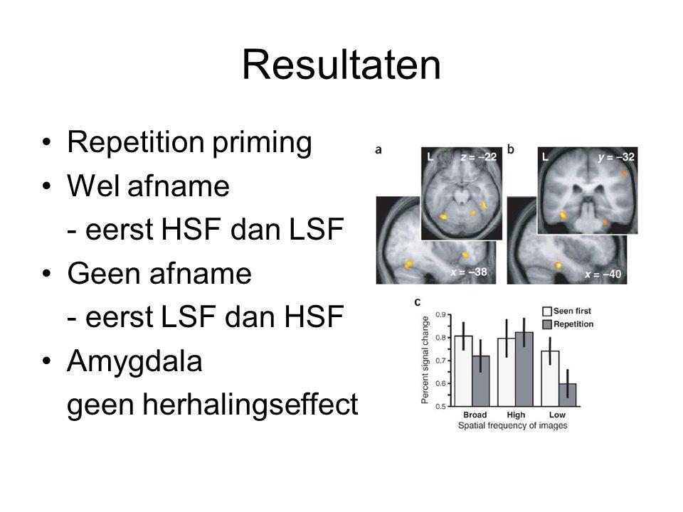 Resultaten Repetition priming Wel afname - eerst HSF dan LSF