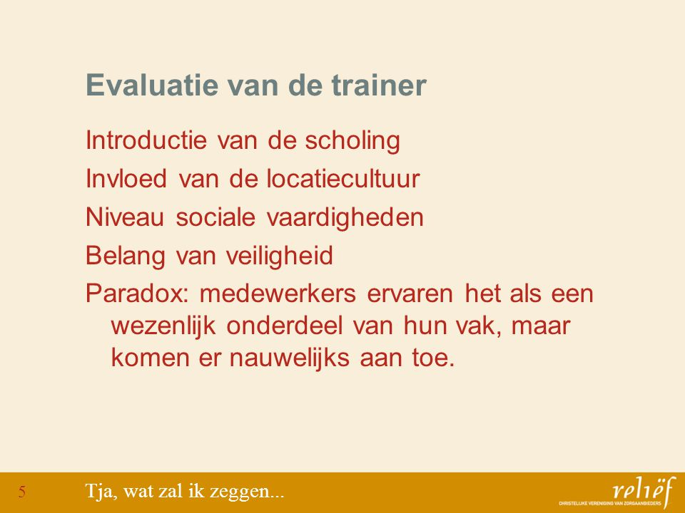 Evaluatie van de trainer