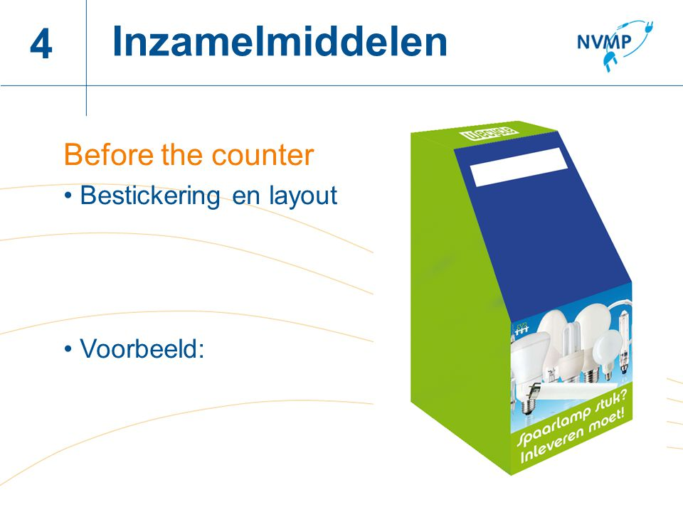 Inzamelmiddelen 4 Before the counter Bestickering en layout Voorbeeld: