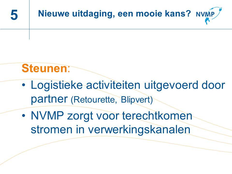 5 Nieuwe uitdaging, een mooie kans Steunen: Logistieke activiteiten uitgevoerd door partner (Retourette, Blipvert)