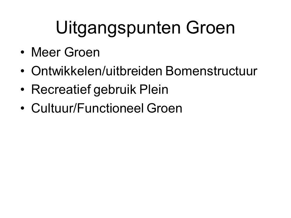 Uitgangspunten Groen Meer Groen Ontwikkelen/uitbreiden Bomenstructuur