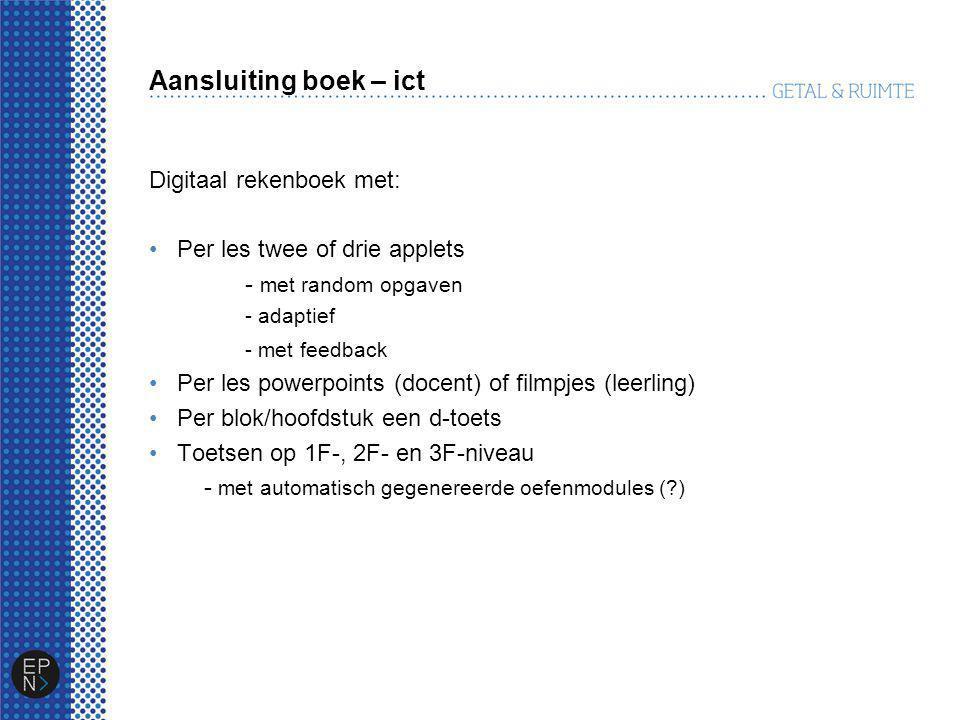 Aansluiting boek – ict Digitaal rekenboek met: