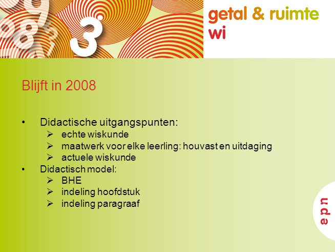 Blijft in 2008 Didactische uitgangspunten: echte wiskunde