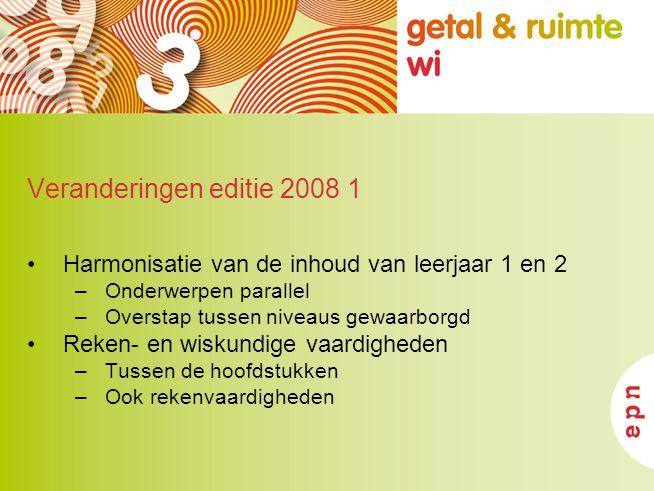 Veranderingen editie 2008 1 Harmonisatie van de inhoud van leerjaar 1 en 2. Onderwerpen parallel. Overstap tussen niveaus gewaarborgd.