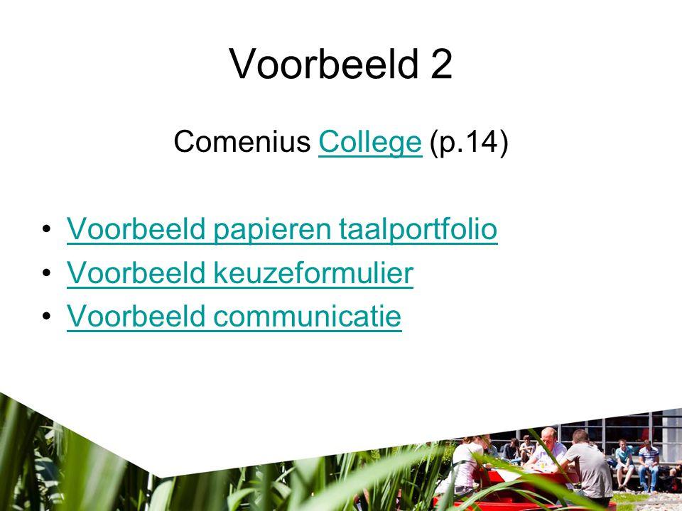 Voorbeeld 2 Comenius College (p.14) Voorbeeld papieren taalportfolio