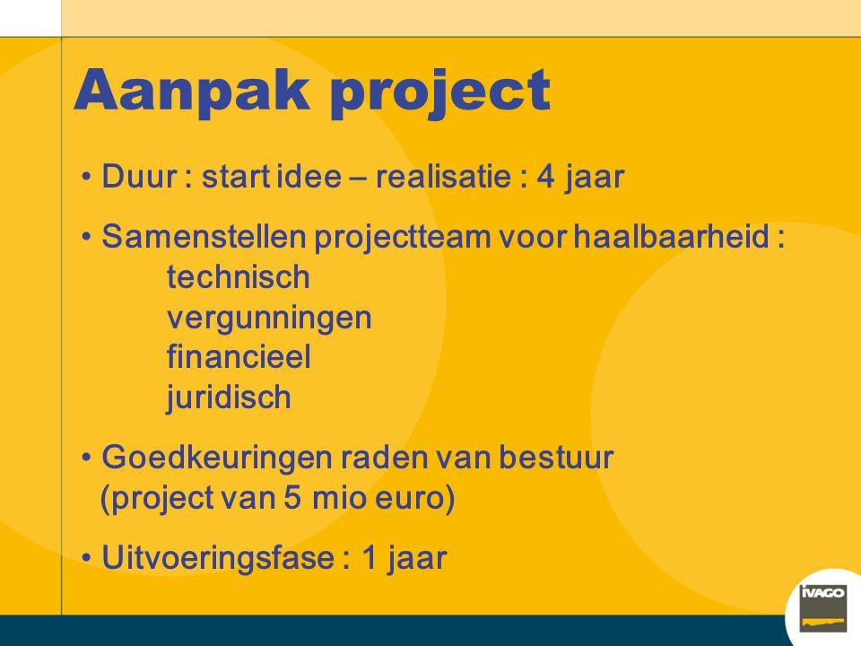 Aanpak project Duur : start idee – realisatie : 4 jaar