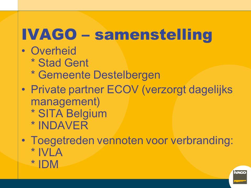 IVAGO – samenstelling Overheid * Stad Gent * Gemeente Destelbergen