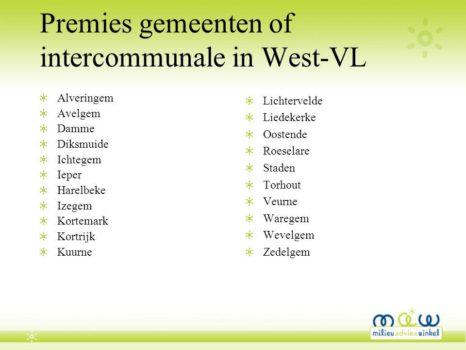 Premies gemeenten of intercommunale in West-VL