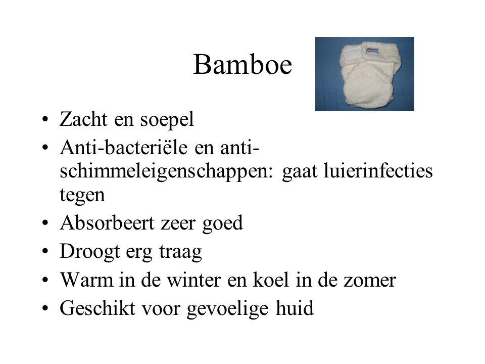 Bamboe Zacht en soepel. Anti-bacteriële en anti-schimmeleigenschappen: gaat luierinfecties tegen. Absorbeert zeer goed.