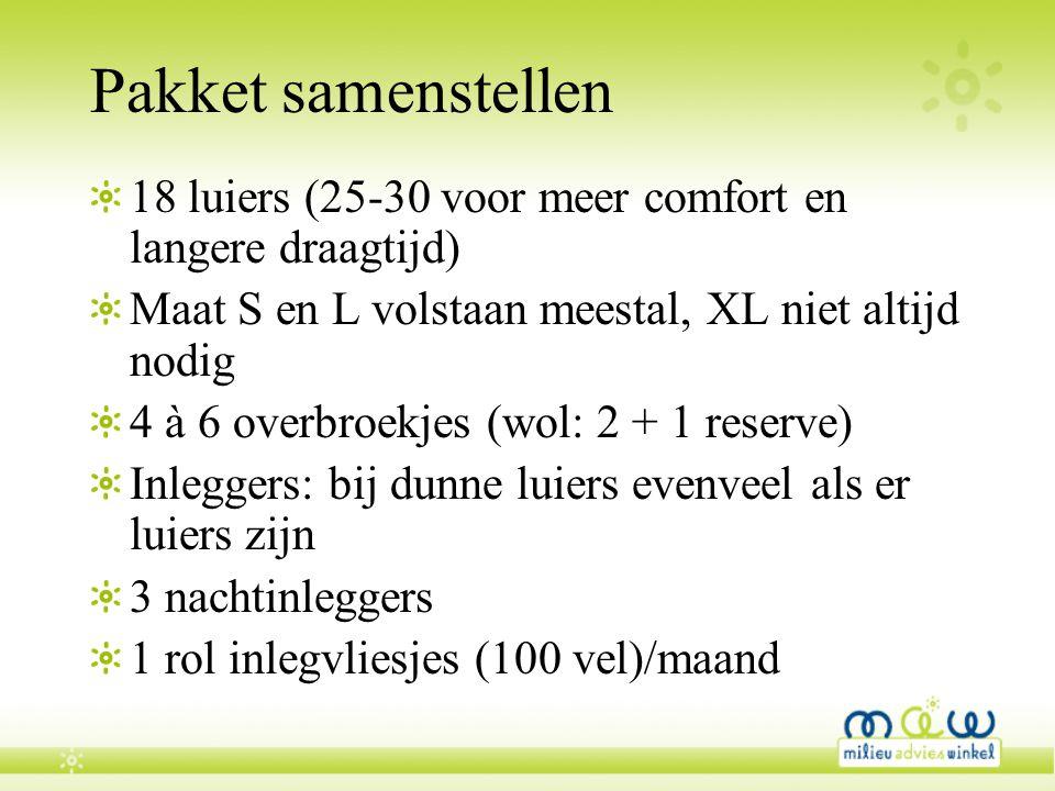 Pakket samenstellen 18 luiers (25-30 voor meer comfort en langere draagtijd) Maat S en L volstaan meestal, XL niet altijd nodig.