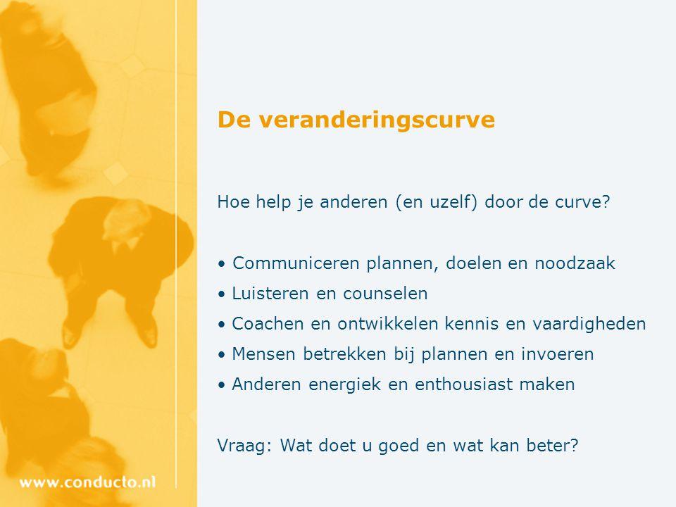 De veranderingscurve Hoe help je anderen (en uzelf) door de curve