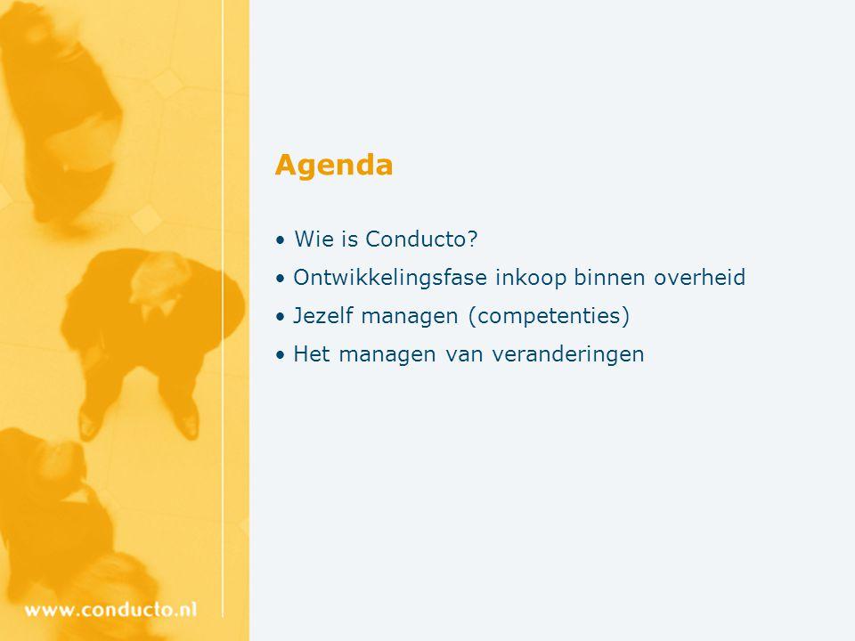 Agenda • Wie is Conducto Ontwikkelingsfase inkoop binnen overheid