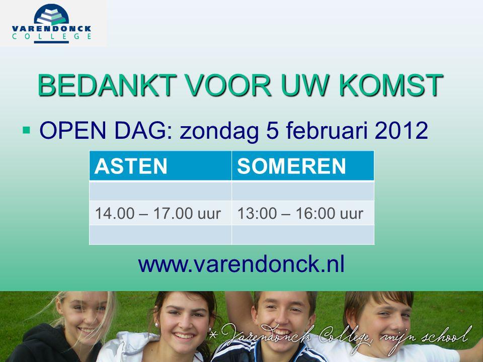 BEDANKT VOOR UW KOMST OPEN DAG: zondag 5 februari 2012
