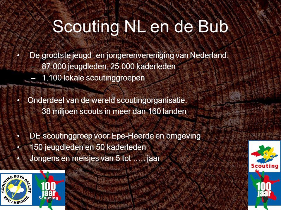Scouting NL en de Bub De grootste jeugd- en jongerenvereniging van Nederland: 87.000 jeugdleden, 25.000 kaderleden.