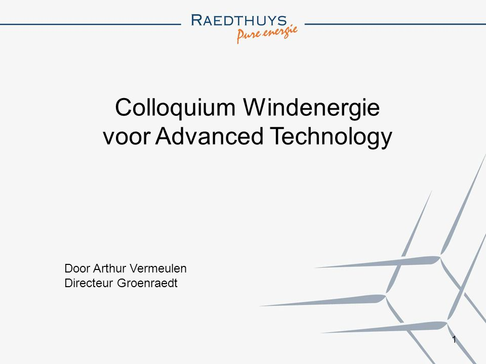 Colloquium Windenergie voor Advanced Technology