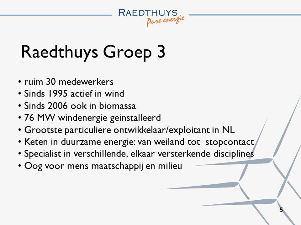 Raedthuys Groep 3 ruim 30 medewerkers Sinds 1995 actief in wind