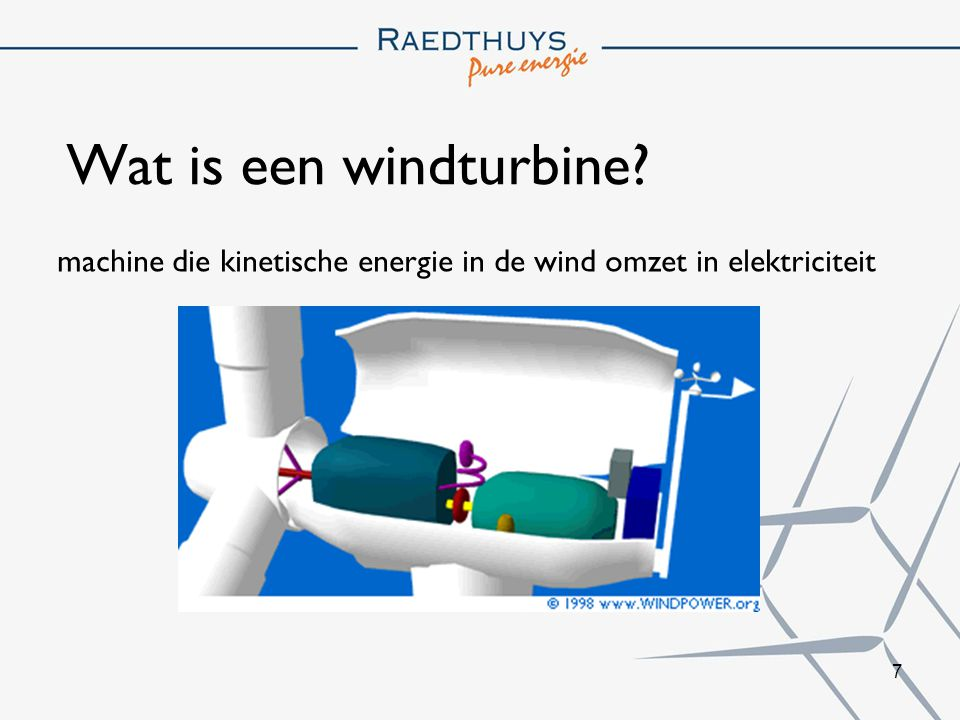 Wat is een windturbine machine die kinetische energie in de wind omzet in elektriciteit