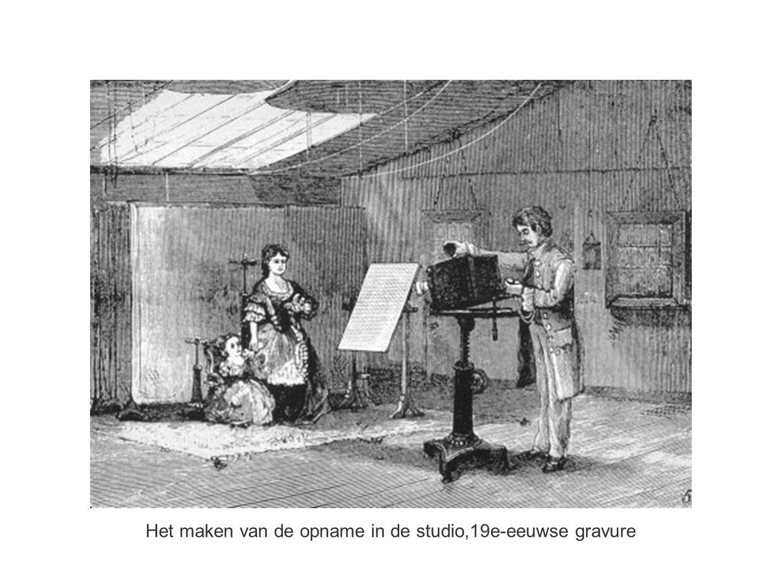Het maken van de opname in de studio,19e-eeuwse gravure