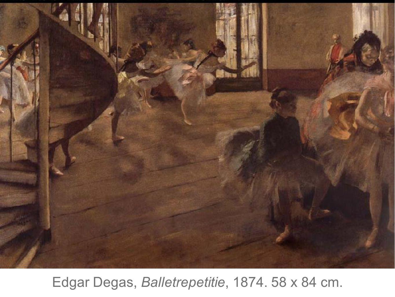 Edgar Degas, Balletrepetitie, 1874. 58 x 84 cm.