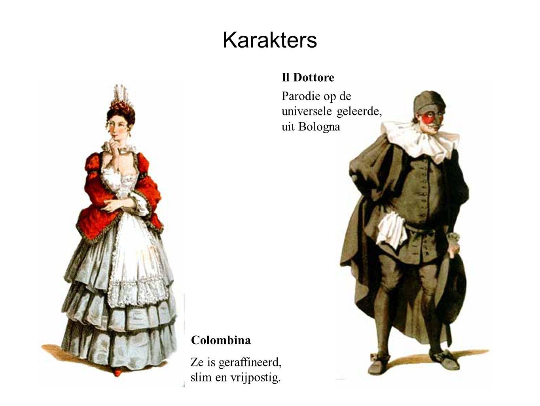Karakters Il Dottore Parodie op de universele geleerde, uit Bologna