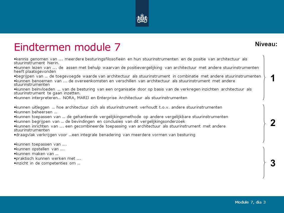 Eindtermen module 7 1 2 3 Niveau: