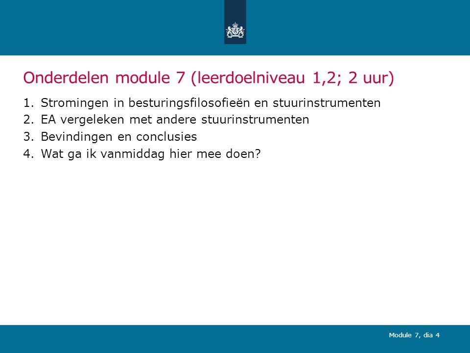 Onderdelen module 7 (leerdoelniveau 1,2; 2 uur)