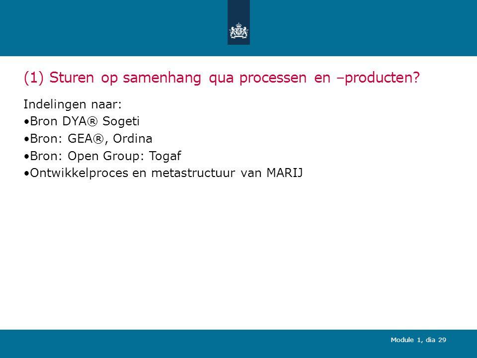 (1) Sturen op samenhang qua processen en –producten