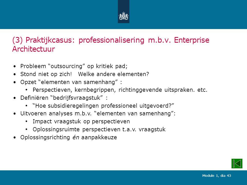 (3) Praktijkcasus: professionalisering m.b.v. Enterprise Architectuur