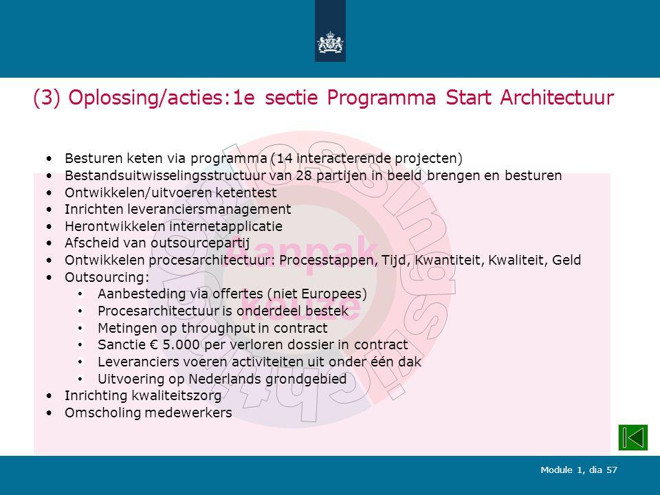 (3) Oplossing/acties:1e sectie Programma Start Architectuur