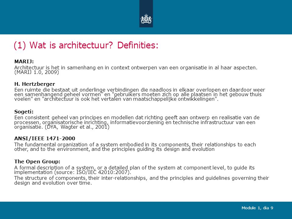 (1) Wat is architectuur Definities: