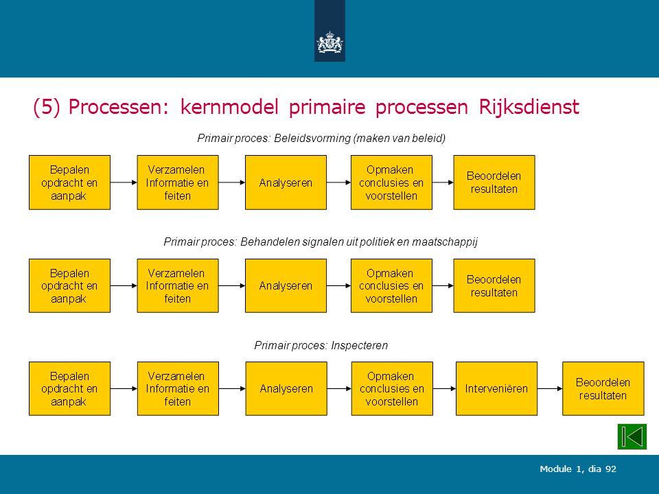(5) Processen: kernmodel primaire processen Rijksdienst