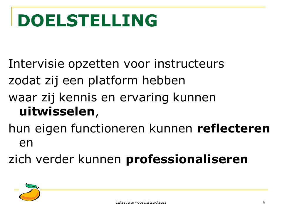 Intervisie voor instructeurs