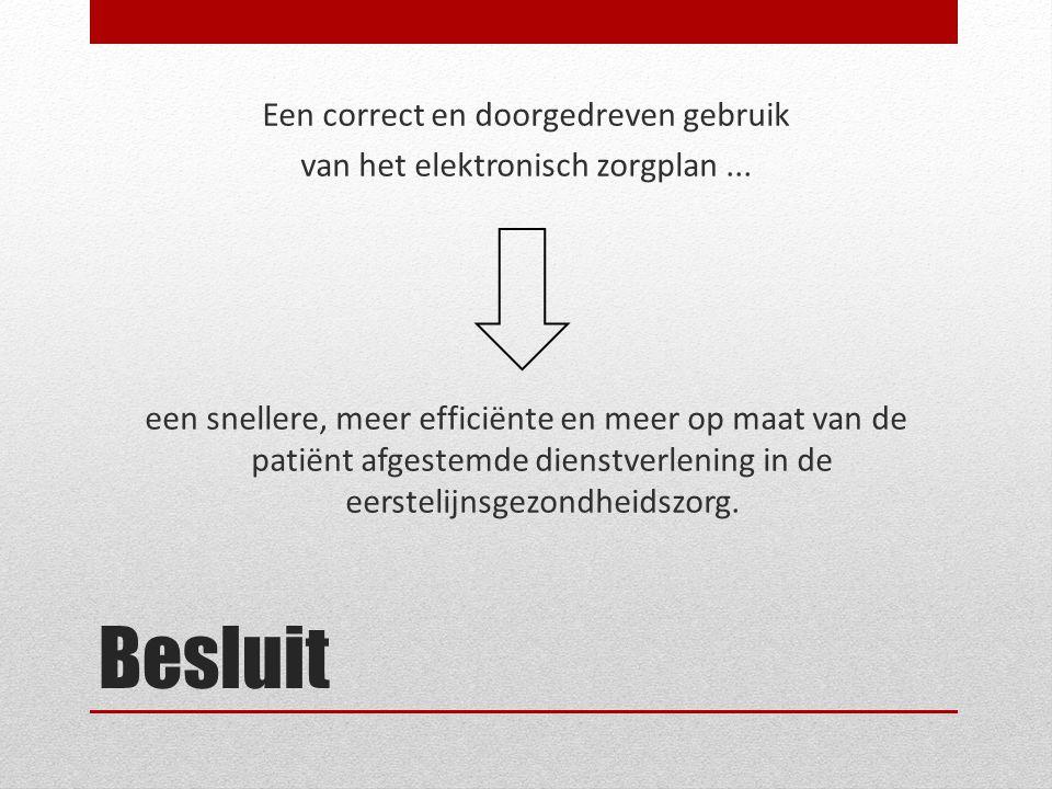 Een correct en doorgedreven gebruik van het elektronisch zorgplan