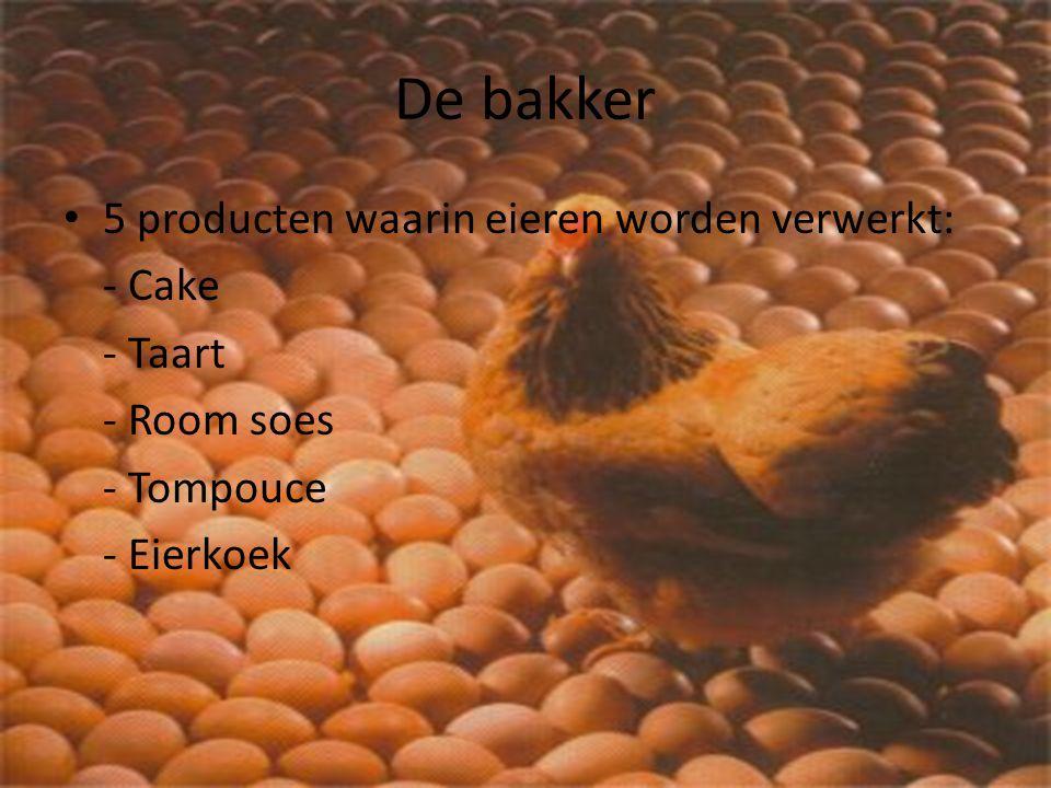 De bakker 5 producten waarin eieren worden verwerkt: - Cake - Taart