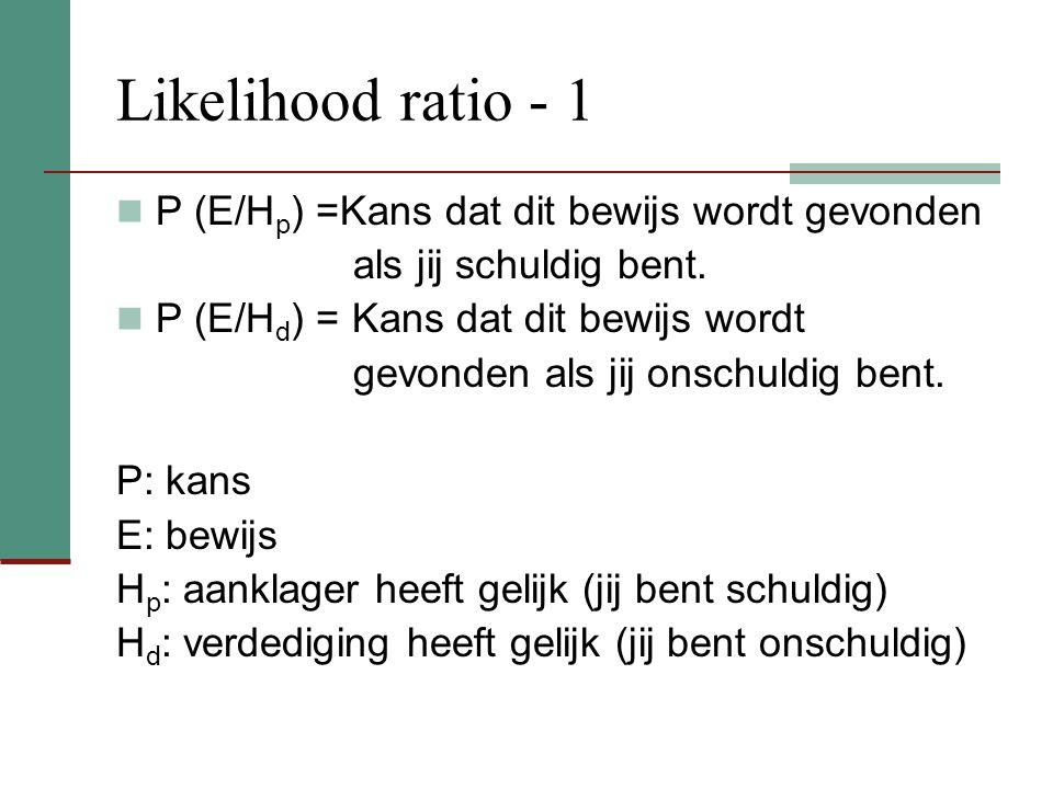 Likelihood ratio - 1 P (E/Hp) =Kans dat dit bewijs wordt gevonden
