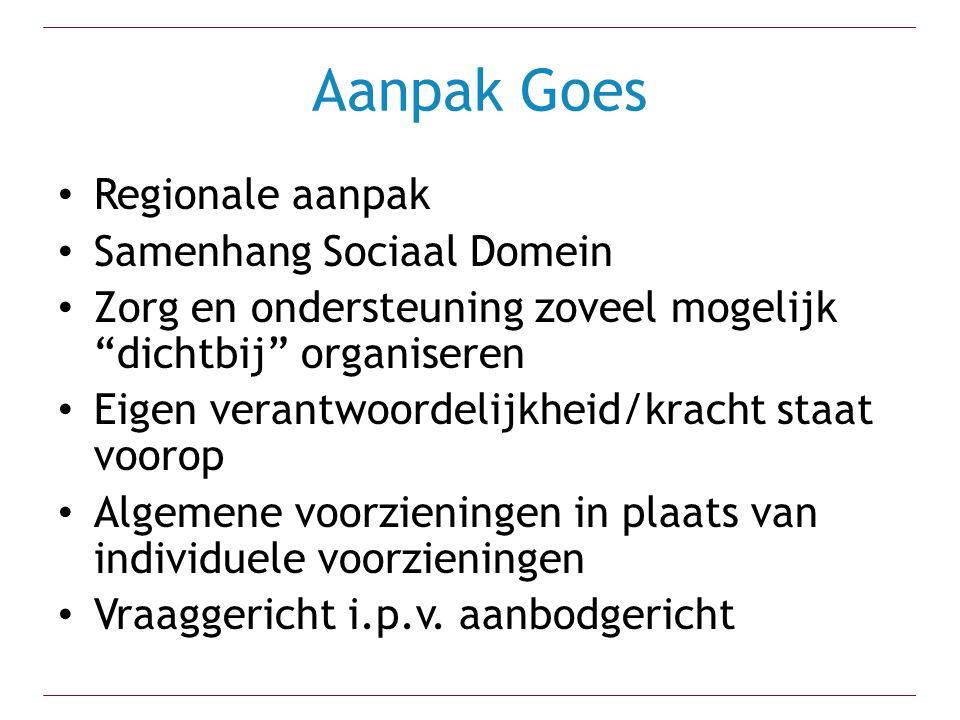 Aanpak Goes Regionale aanpak Samenhang Sociaal Domein
