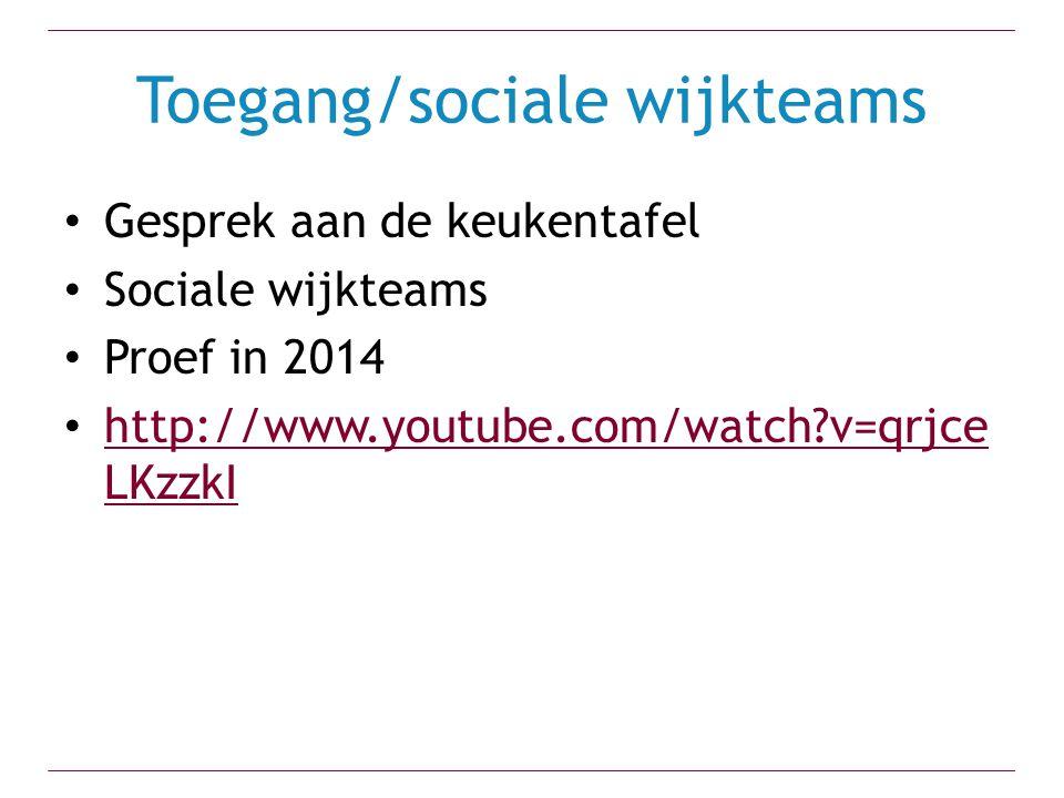 Toegang/sociale wijkteams