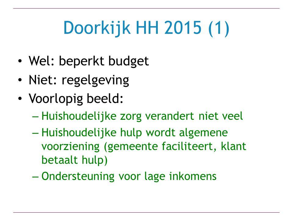 Doorkijk HH 2015 (1) Wel: beperkt budget Niet: regelgeving