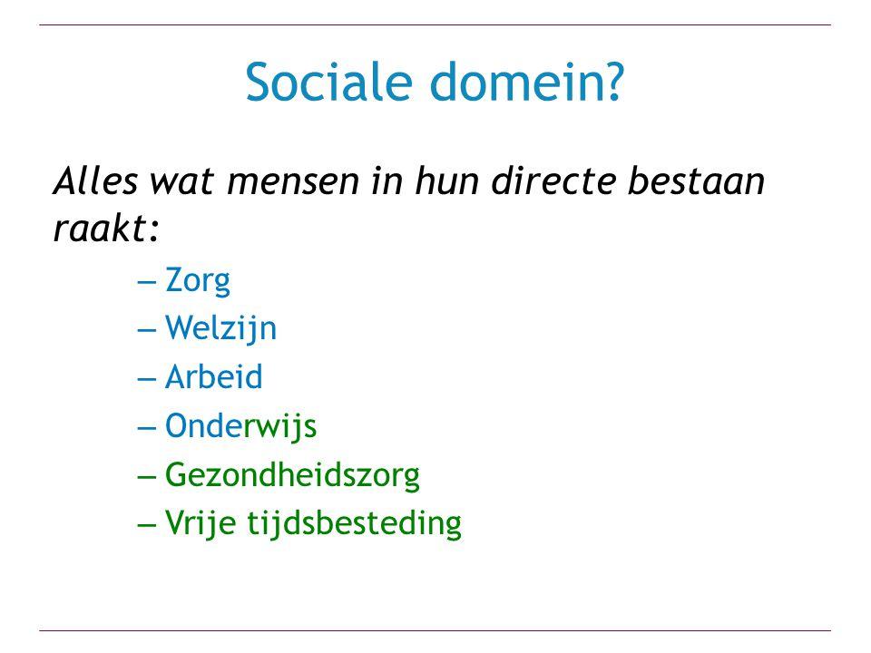 Sociale domein Alles wat mensen in hun directe bestaan raakt: Zorg