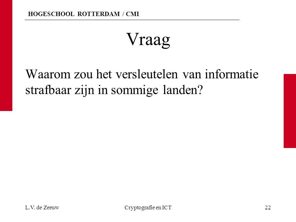 Vraag Waarom zou het versleutelen van informatie strafbaar zijn in sommige landen.