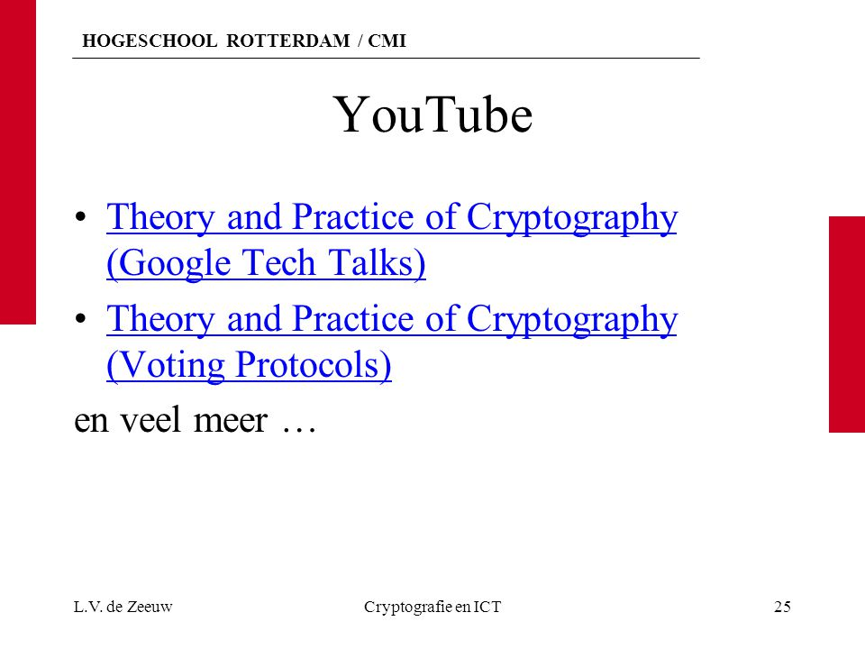 YouTube Theory and Practice of Cryptography (Google Tech Talks)