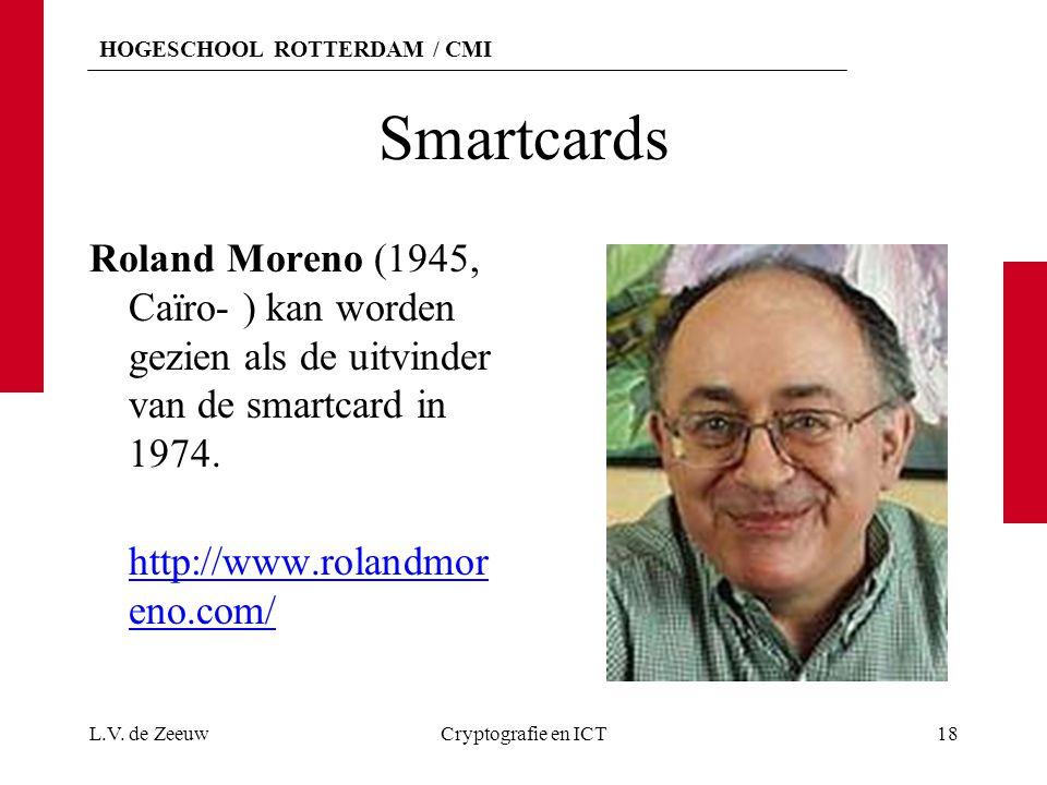 Smartcards Roland Moreno (1945, Caïro- ) kan worden gezien als de uitvinder van de smartcard in 1974.