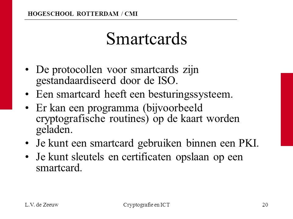 Smartcards De protocollen voor smartcards zijn gestandaardiseerd door de ISO. Een smartcard heeft een besturingssysteem.