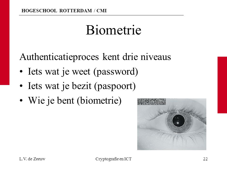 Biometrie Authenticatieproces kent drie niveaus