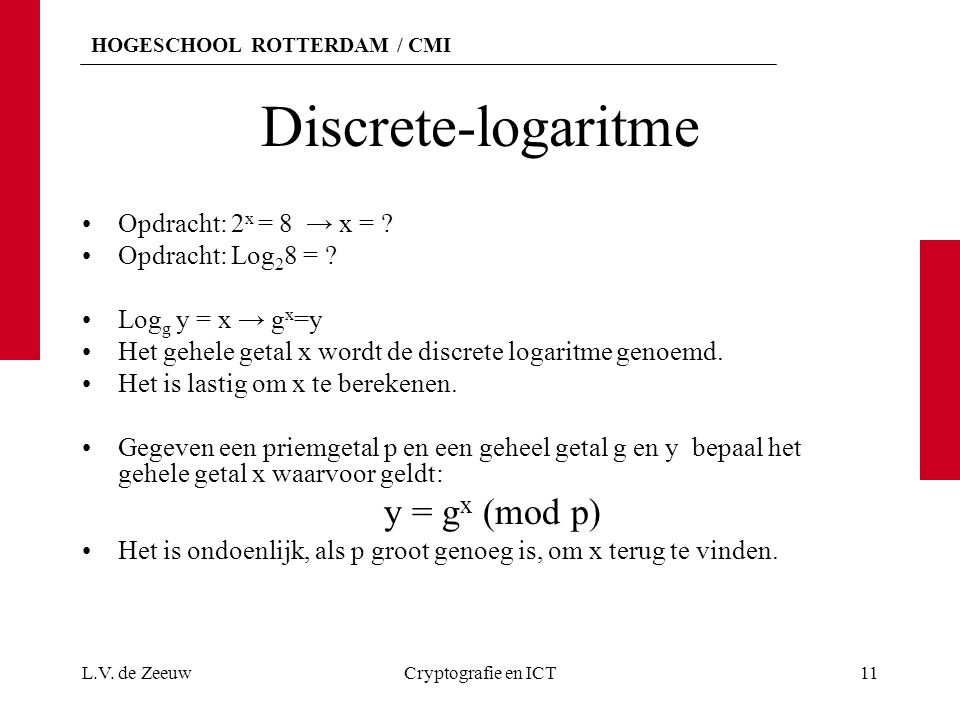 Discrete-logaritme y = gx (mod p) Opdracht: 2x = 8 → x =