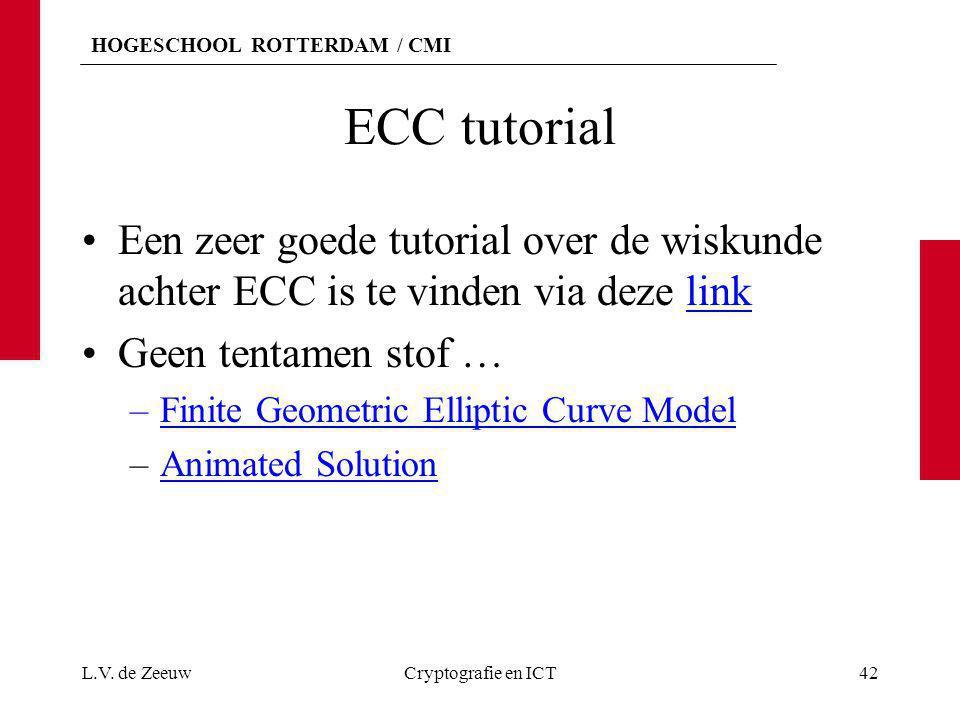 ECC tutorial Een zeer goede tutorial over de wiskunde achter ECC is te vinden via deze link. Geen tentamen stof …