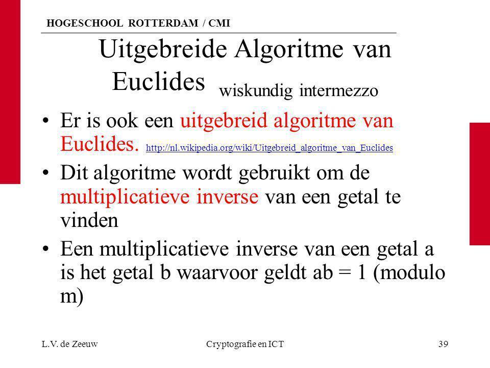 Uitgebreide Algoritme van Euclides wiskundig intermezzo