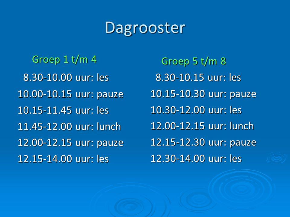 Dagrooster Groep 5 t/m 8 8.30-10.00 uur: les Groep 1 t/m 4